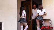 Naughty schoolgirls share one big fat cock in hot threeway