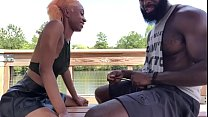 Cute ebony blows hung black muscle stud in the park