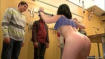 Brunette anal fucked in knives shop
