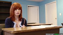 InnocentHigh - redhead coed with hairy pussy Sadie Kennedy deepthroats bigcock