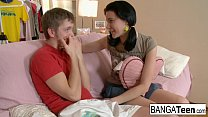 Her teen pussy is so tight he can't help cumming inside!