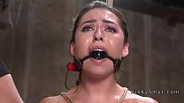 Gagged slave in stockings fucking