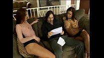 Two wanton darkhaired girls Mia Bangg and Brandi Lyons spread their long legs for hard pole of their fuckbuddy