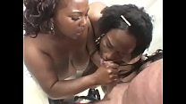 Horny dude enjoys a blowie from cute ebony babes