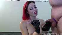 Mistress Severa whips in pantyhose and heels