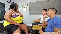 Busty Black BBW Teacher Fucks 2 Hung Stud Students