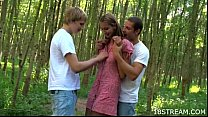 Amazing teen threesome outdoors