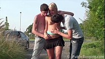 Young hot blonde teen girl is fucked by 2 teen guys in the middle of a street