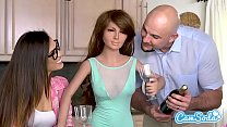 Realdoll threesome Jmac and Kelsi Monroe T-Rex cuckold