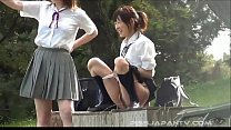 Immature Asian school girls play with piss