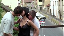 Tiny cute teen girl fucked by 2 big dicks in a public street gang bang threesome