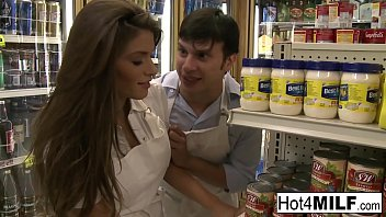 Brunette hottie fucks her coworker in the stock room