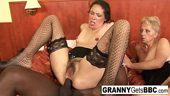 Two mature sluts get their hairy pussies jizzed on by BBC