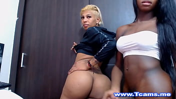 Two Horny Shemales Fucking Hard on Cam