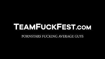 Three sexy pornstars line up to suck and fuck strangers