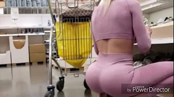 Shopping cart Cam Spying on hot chick in pink yoga pants inside Ikea HOT!