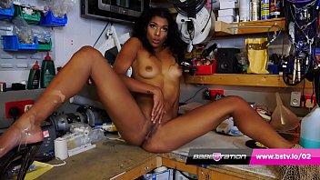 Skinny ebony Sabrina Jade playing with her pussy